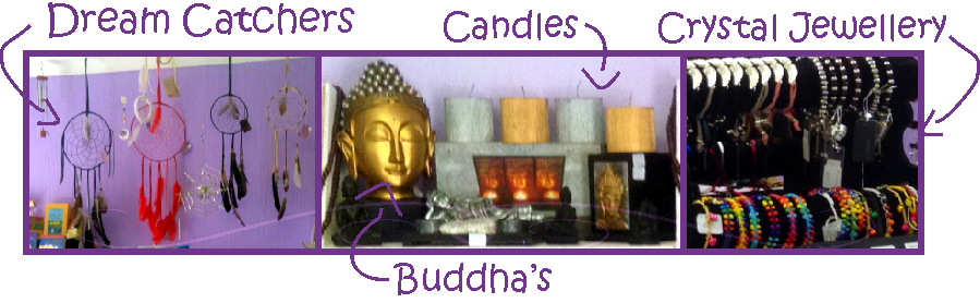 Candles, dream catchers, Buddhas, Crystal jewellery